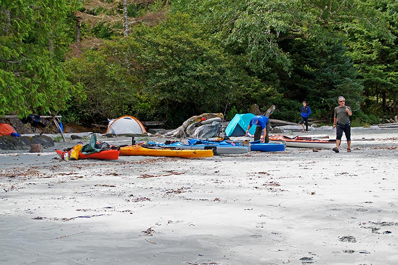 Kayakers Camping at Rugged Point Marine Park, Vancouver Island, British Columbia. Photo: Santa Brussouw.