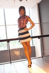 Check ruffle blouse and Marine miniskirt_13