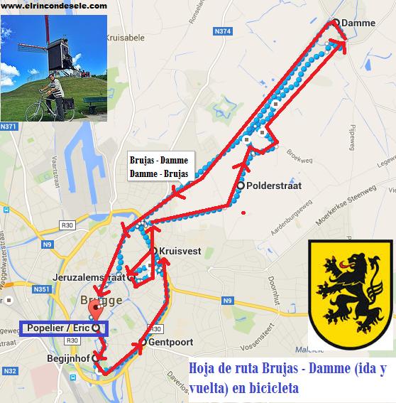 Hoja de ruta en bicicleta entre Brujas y Damme (Flandes, Bélgica)