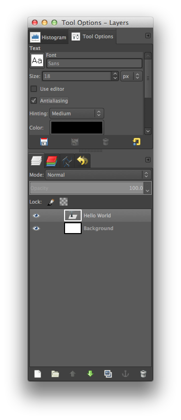 GIMP Tool Options Selected
