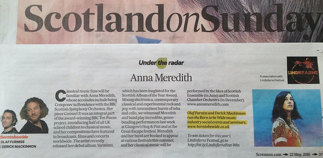 Scotland On Sunday, 22 May 2016, Anna Meredith
