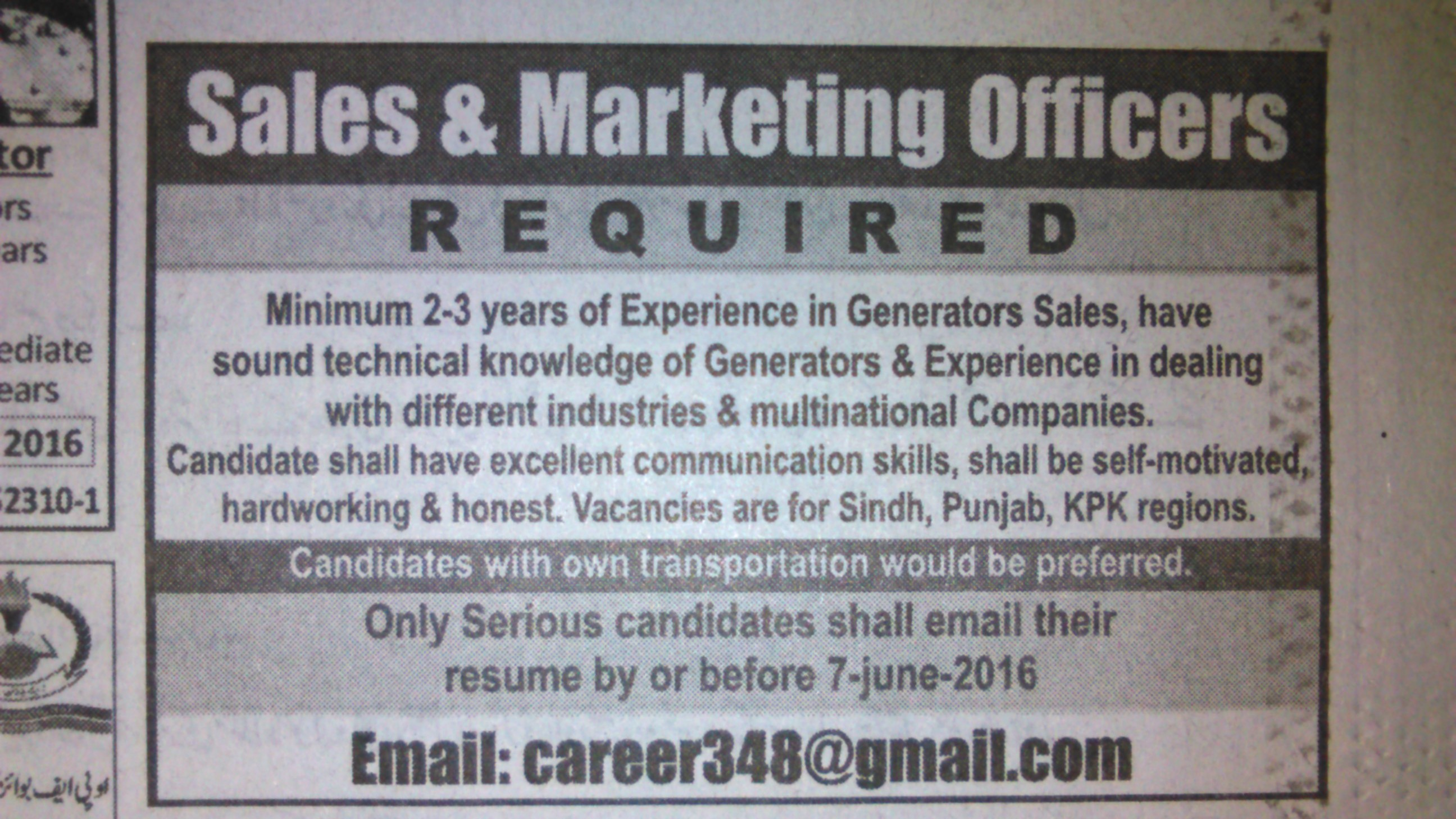 Sales and Marketting Officers Required