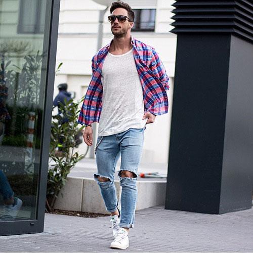 チェックシャツ×ダメージジーンズ×スタンスミス