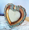 Vintage Antique Shabby Chic Plaster Ruffled Heart Easel Picture Frame