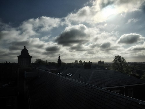 <p>Sunrise over the rooftop</p>