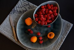 Raspberries and apricots