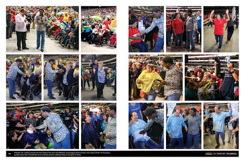 Prophet T.B. Joshua moves into the midst of the sick and afflicted, encouraging them to look unto Jesus Christ. As he prays, people leave their wheelchairs and crutches behind, walking freely to the glory of God!
