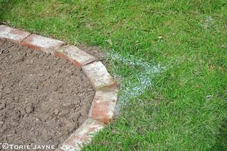 Old brick lawn edging