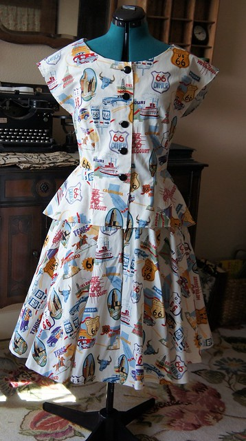 50's Route 66 novelty print dress