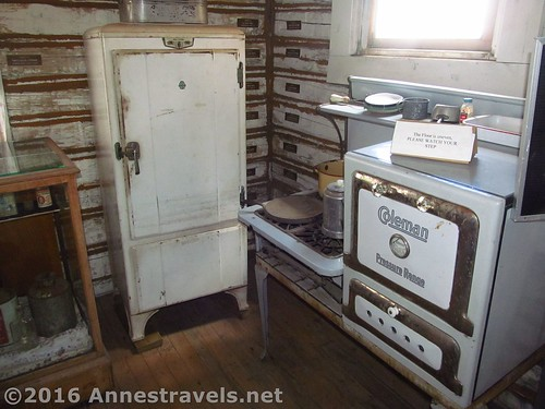 Old refrigerator and a Coleman stove at the Medicine Bow Museum, Medicine Bow, Wyoming