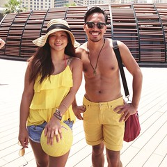 Color of the day. #Yellow #beach #beachbums #jbr #summer #hot #duo