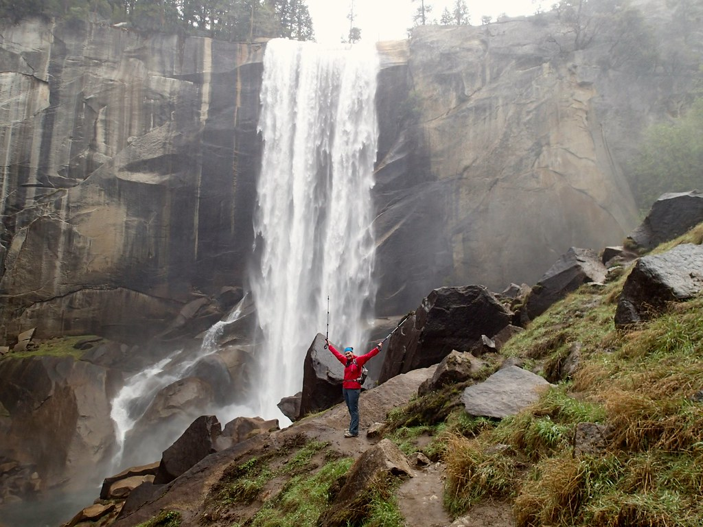 Posing in the mist in front of Vernal Falls
