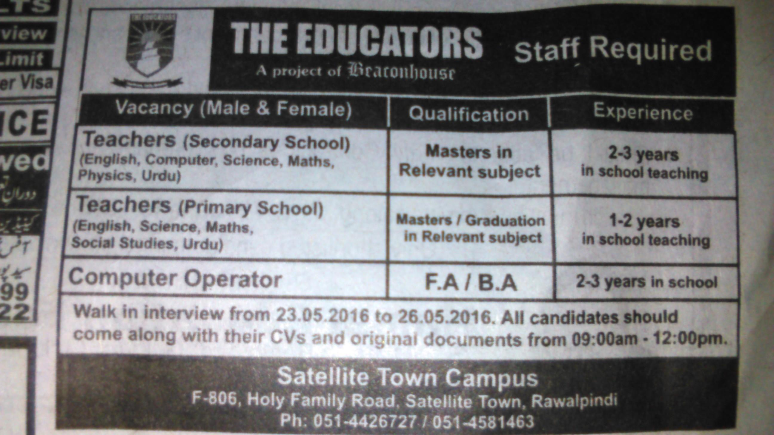 The Educators Rawalpindi Staff Required