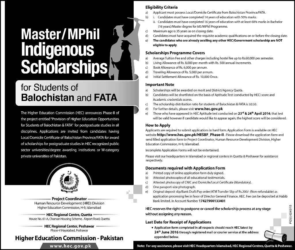 HEC Indigenous Scholarship Program 2016
