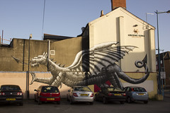 Street art dragon, City Road, Cardiff, Wales