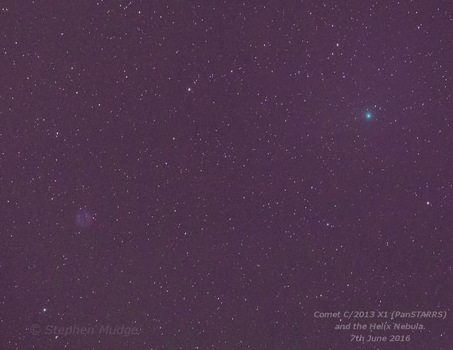 Comet PanSTARRS (2013 X1) and Helix Nebula 7Jun16