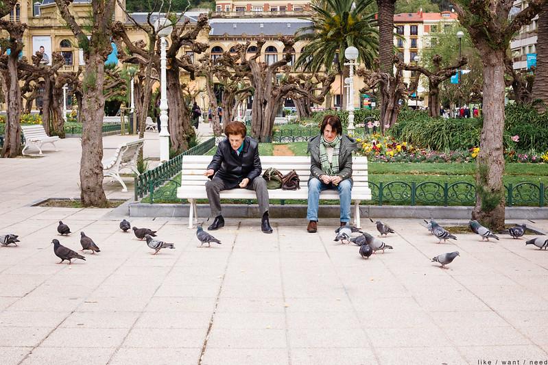 Feeding pigeons, De Cervantes Plaza