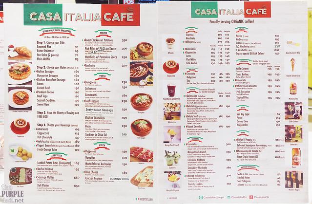 Casa Italia Cafe Menu