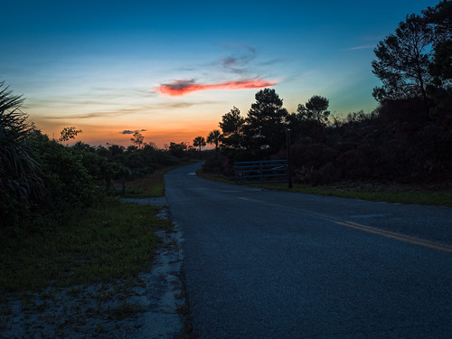 road sunset sky usa plant tree sign forest fence twilight florida dusk explore jupiter jonathandickensonstatepark em5markiihighres ©edrosack