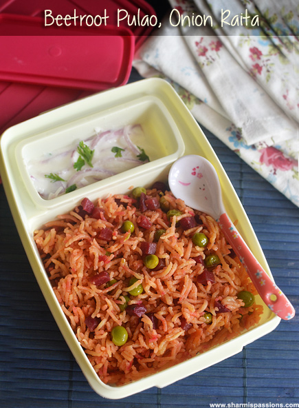 Beetroot Pulao, Onion Raita