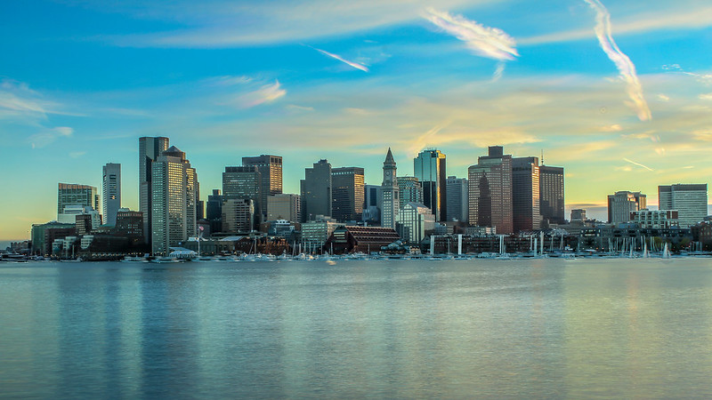 Boston, MA Skyline Sunset Image Staking