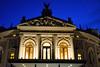Teatro dell'Opera di Lubiana all'ora blu.