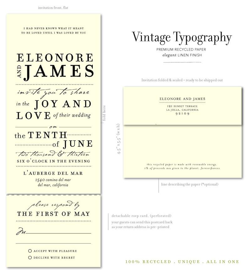 Vintage Typography Wedding Invitations. Send And Sealed Vintage Typography