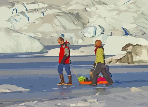 Family Ice Walking Mendenhall Lake