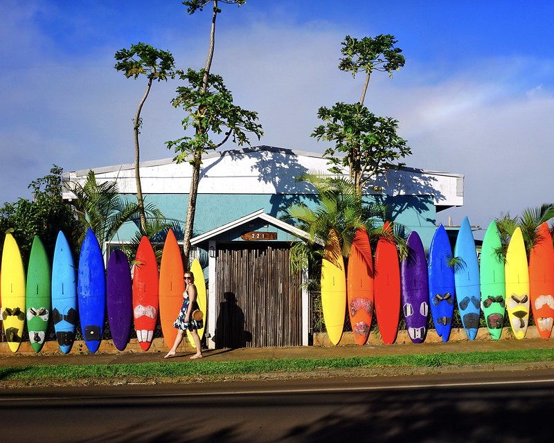 Aloha Surf Hostel Paia Maui Surfboard Fence Wall Colorful Most Instagrammable Places in Hawaii