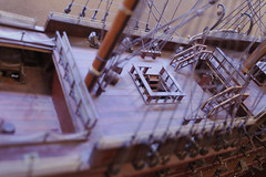 Deck, stair cases, canons, rigging, mast, model, wood, Ocean Shores, Washington, USA