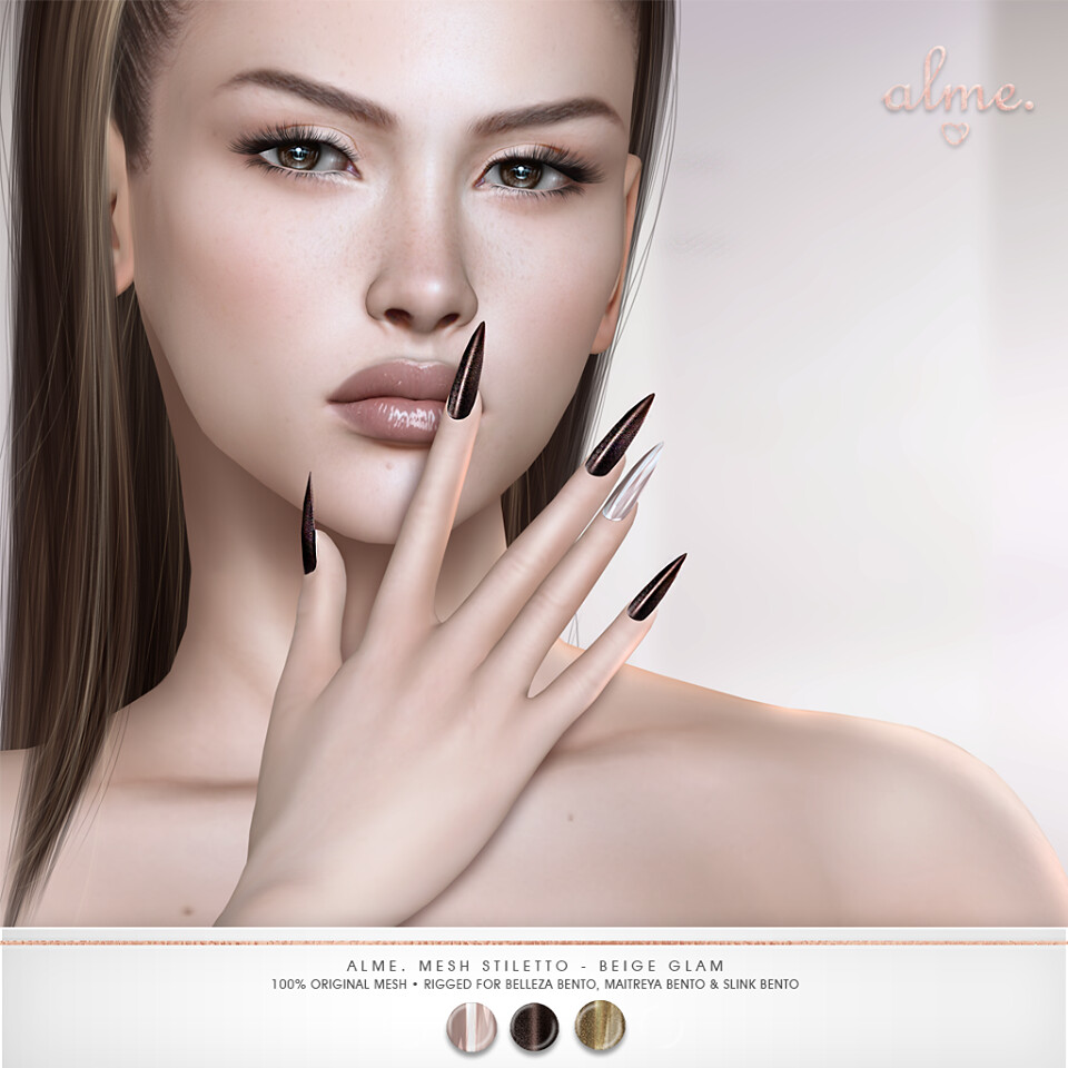 "Alme. in Second Life for ACE Event ""Alme Mesh Stiletto nails//Beige Glam"" ♥ - TeleportHub.com Live!"