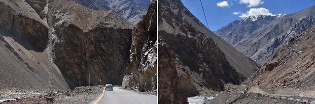 KKH, Karakoram Highway entre la frontière chinoise et Sost. Défilés et pentes instables - Photos B. Grua 2018