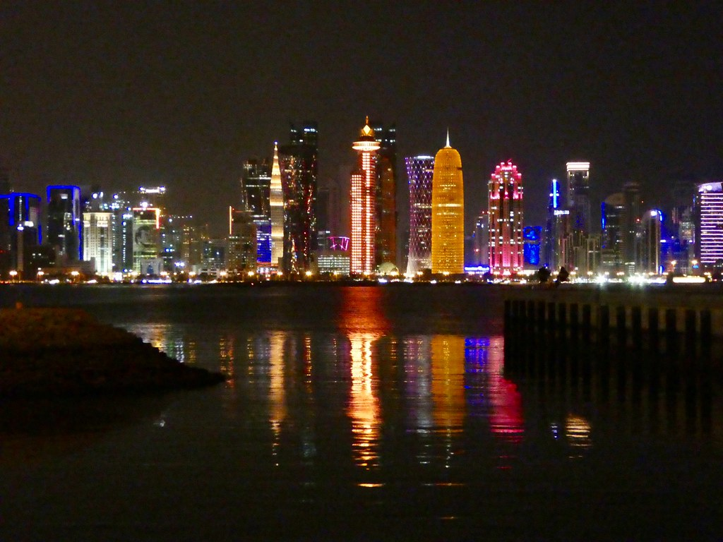 The West Bay Skyline viewed from the Corniche, Doha