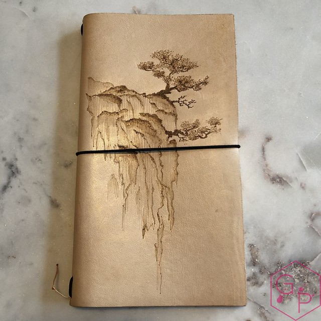 Toronto Pen Company Traveler's Notebook Leather Covers with Pyrography & Paintings 4