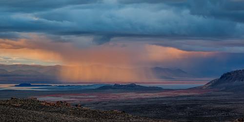 Mono Lake Spring Sunset Storm Panorama