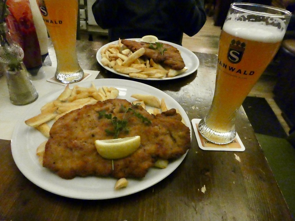 Our huge schnitzels at Onkle Otto's, Stuttgart
