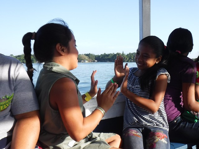 On the boat to camp