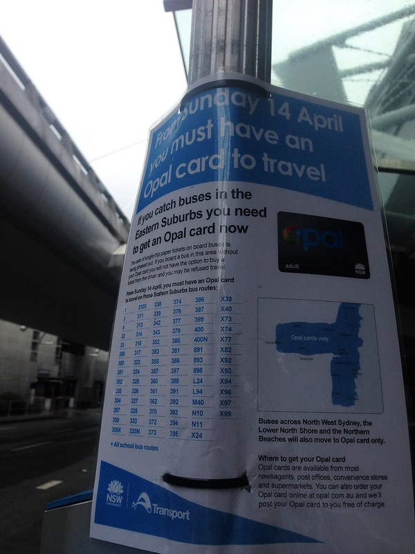 Opal card sign at bus stop, Sydney Airport