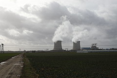 nuclear cooling towers and agricultural lands in Saint Laurent Nouan