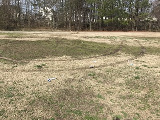 The abandoned Mingo Creek Park in Knightdale NC.  Town officials are slow to cleanup this park located near modestly priced homes, while conducting daily cleanup and garbage pickup at the Knightdale Station Park, near town officials residences'.