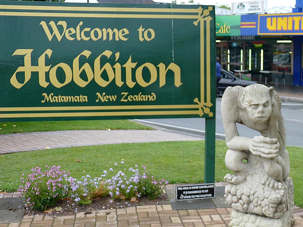 Hobbiton sign at Matamata, New Zealand. Photo taken on February 2, 2012.