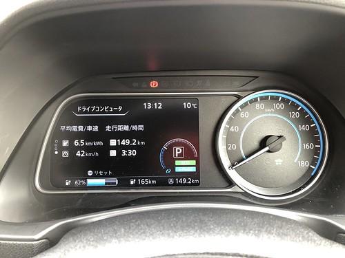 岡山市到着時 日産リーフ(40kWh)メーター エアコンOFF