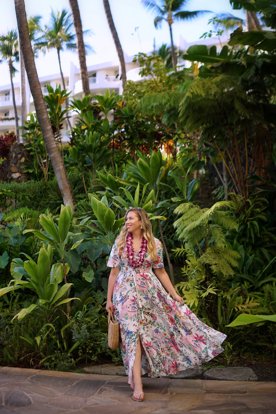 Hawaii Outfit Inspiration Shein Floral Maxi Dress Rattan Bag Fairmont Kea Lani Maui Hawaii