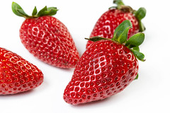 Fresh Red Strawberries on the white background