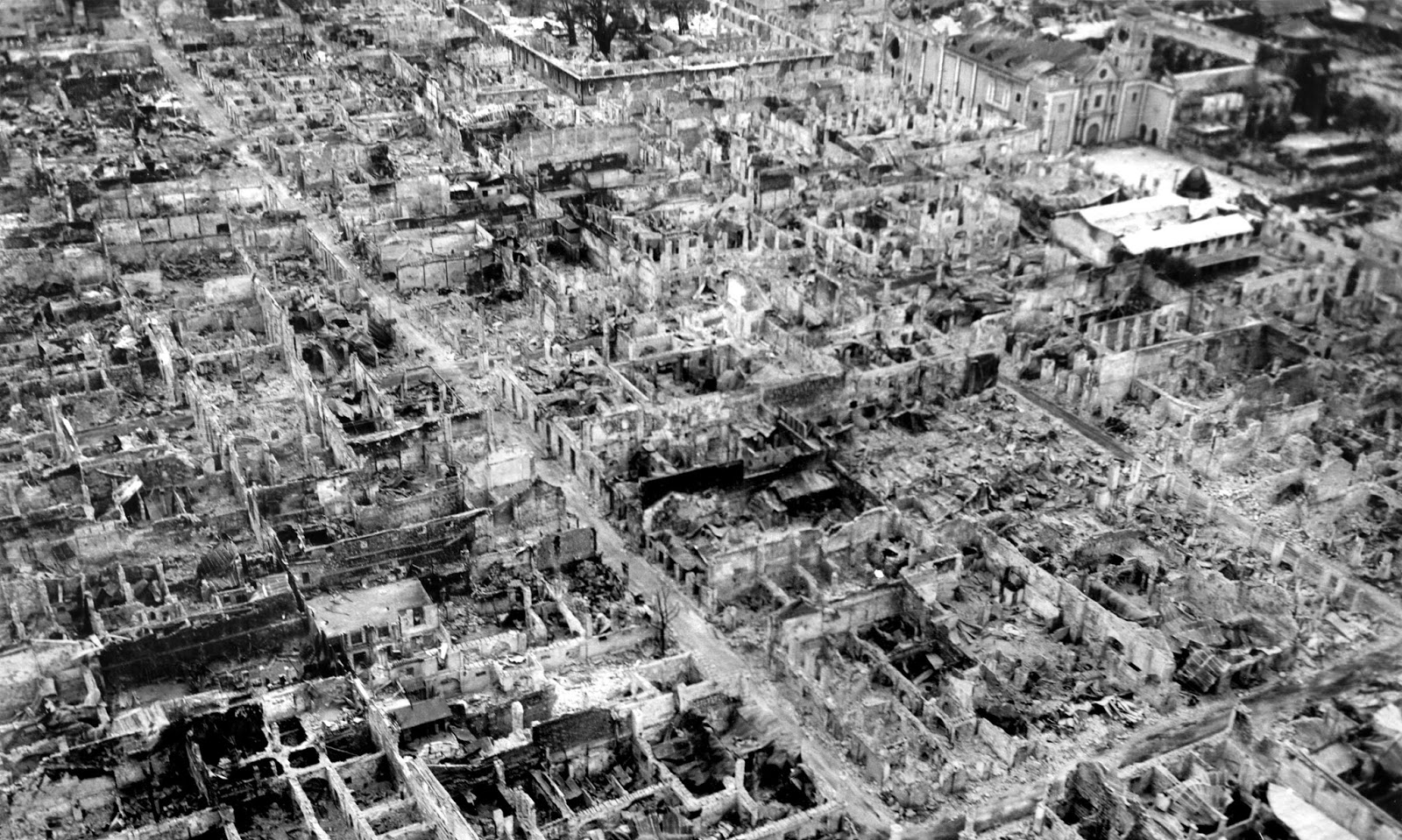 Destruction at the Walled City (Intramuros district) of old Manila after the Battle of Manila. Photo taken in May 1945.
