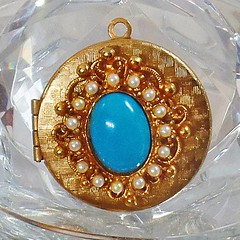 Turquoise Pearl Locket Pendant. Victorian Revival Faux Turquoise and Pearl Gold Locket Pendant. waalaa.