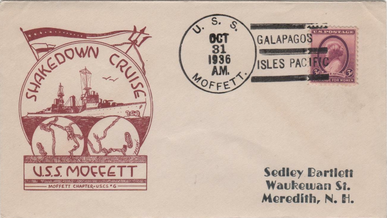 Cover posted aboard USS Moffett (DD 362) during a call at the Galapagos during her shakedown cruise on October 31, 1936. Moffett was a Porter-class destroyer in the United States Navy, named for William Moffett. Built by Bethlehem Shipbuilding Corporation's Fore River Shipyard in Quincy, Massachusetts, she was commissioned at Boston, Massachusetts, on August 28, 1936, Commander Andrew H. Addoms in command. Following Atlantic Fleet service during World War II, Moffett was decommissioned and sold for scrap on May 16, 1947.