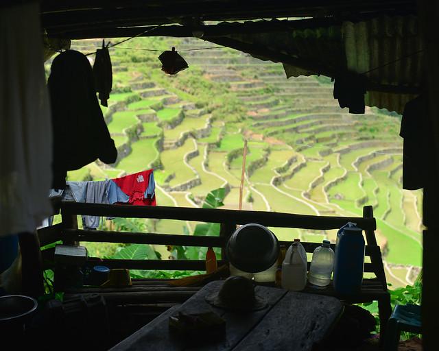Ventana con vistas a las terrazas de Batad