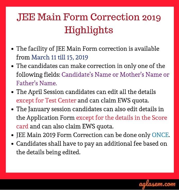 JEE Main Form Correction 2019 Started; Claim EWS Quota