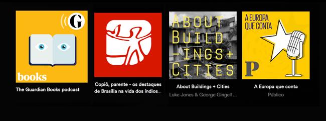 Podcasts da jornalista Adriana Paiva Guardian Books jornalismo literatura jornal Público análise política urbanismo cidades mobilidade urbana alimentação vegetariana periódicos cinema libros podcasters nación podcastera